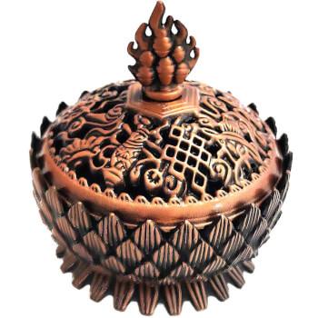 Vasul Abundentei, obiect feng shui cu 8 simboluri norocoase, decoratiune interioara pentru atragerea banilor, set cu ghid zodiacool, metal, bronze