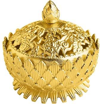 Vasul Abundentei, obiect feng shui cu 8 simboluri norocoase, decoratiune interioara pentru atragerea banilor, set cu ghid zodiacool, metal, auriu