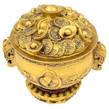 Vas pentru prosperitate, simboluri feng shui de bogatie, rasina, auriu
