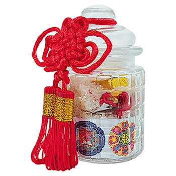 Vasul prosperitatii feng shui, set de obiecte care aduc noroc de bani, kit cu amulete si nod mistic