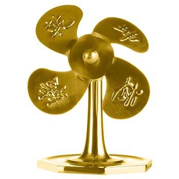 Ventilator cu Pa Kua, amuleta pentru transformarea ghinionului in noroc, pentru activarea carierei, metal auriu