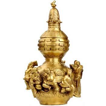 Wu lou cu 8 nemuritori, amuleta de sanatate si indeplinirea dorintelor, obiect feng shui pentru mariaj si prosperitate, auriu 20 cm