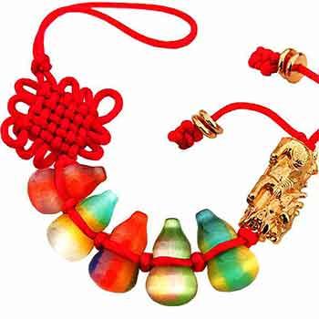 Amuleta cu 5 Wu Lou din cristale si Pi Yao pentru sanatate si noroc