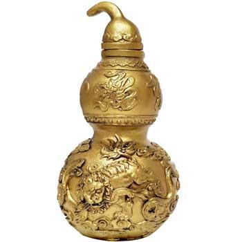 Wu Lou cu caini Fu, amuleta Feng Shui, pentru protectie impotriva afectiunilor si pierderilor, rasina, auriu