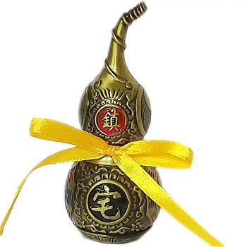 Wu Lou, amuleta de sanatate impotriva suferintelor si accidentelor, metal auriu vintage, 95 mm