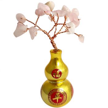 Copacei Wu Lou cu pietre semipretioase, simbol pentru protectia de energii negative a relatiei de dragoste, roz