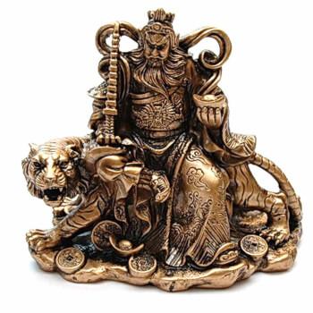 Kwan Kung pe tigru, zeul razboiului, obiect feng shui pentru victorie si succes in afaceri