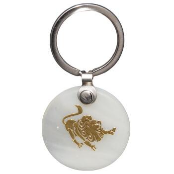 Zodia leu breloc, pandantiv sidef alb, personalizat cu semn zodiacal, 30 mm