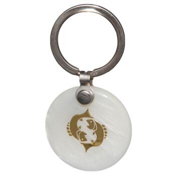 Zodia pesti breloc, pandantiv sidef alb, personalizat cu semn zodiacal, 30 mm