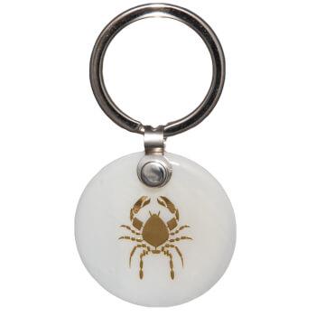 Zodia rac breloc, pandantiv sidef alb, personalizat cu semn zodiacal, 30 mm